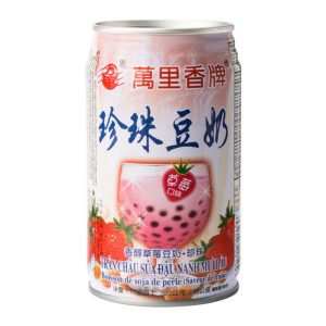 Mong Lee Shang Parel sojabonendrank aardbei aroma met tapioca ballen (珍珠豆奶草苺味)
