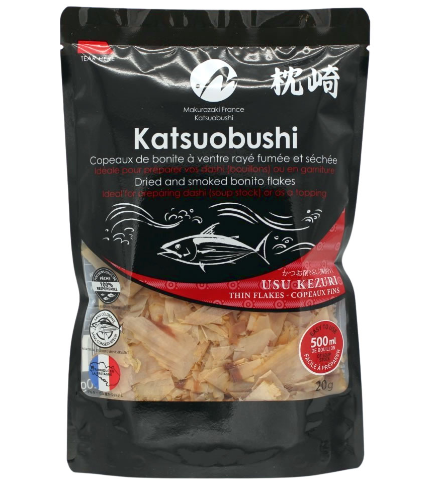 Dried smoked and thinly skipjack tuna flakes