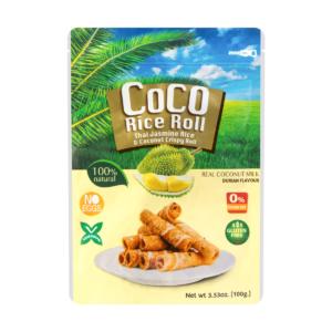 Knapperige kokosnoot rijst rol met durian smaak