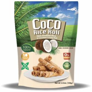 Knapperige kokosnoot rijst rol met kokosnoot smaak