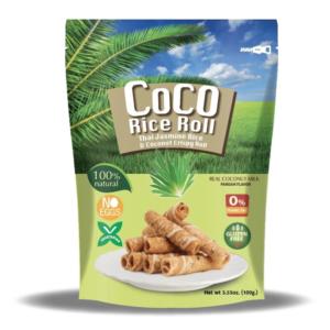 Knapperige kokosnoot rijst rol met pandan smaak