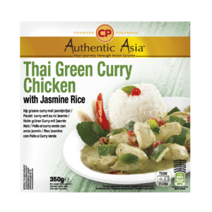 Authentic Asia Thai green curry chicken with jasmine rice