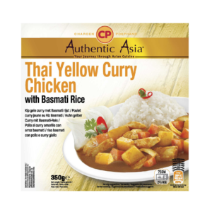 Authentic Asia Thai yellow curry chicken with basmati rice