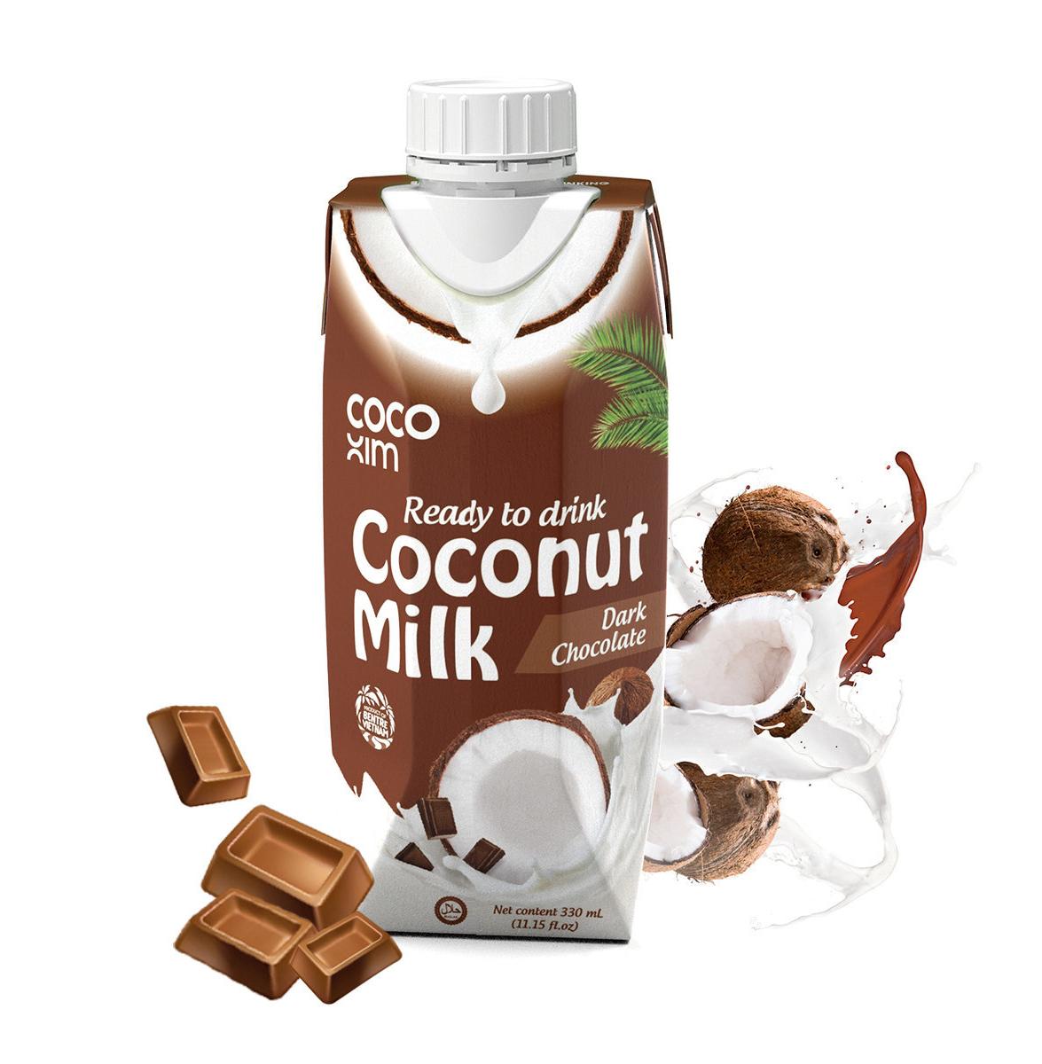 Coconut milk drink with dark chocolate flavour