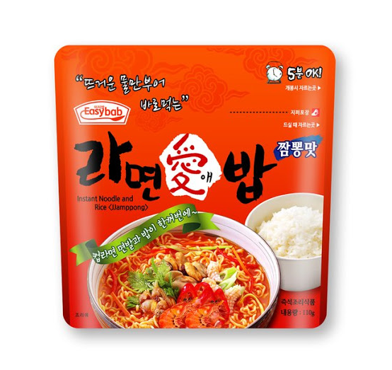Instant noodle and rice with jjamppong (라면 애밥 짬뽕 맛)