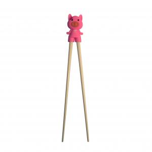 Plastieken eetstokjes met roze varken hulpmiddel