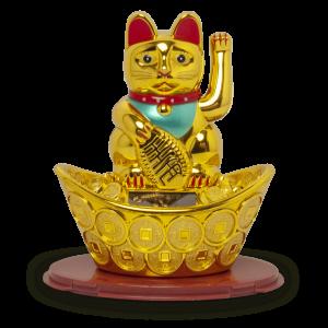 Shohuku kat goud op zonne-energie 10cm