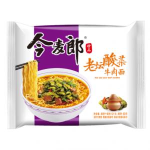 Jinmailang Noedels rundvlees en ingelegde mosterd smaak (今麥郎酸菜牛肉麵)