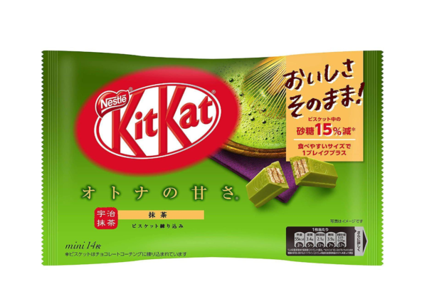 Nestle  KitKat matcha flavor 15% less sugar