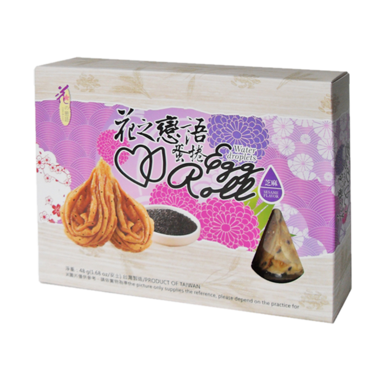 Water droplets egg roll cookie sesame flavor (花之戀語 水滴型蛋捲 芝麻味)