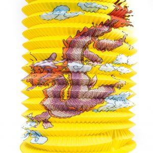 Lantaarn geel papier met rode draak