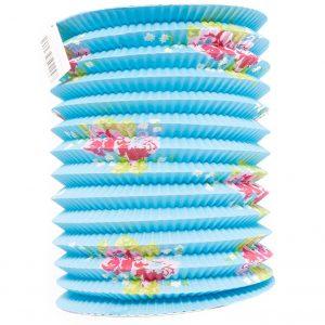 Lantaarn blauw papier met bloemen decoratie