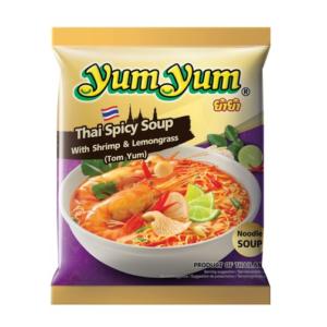 Yum Yum Noedelsoep op Thaise wijze met pikante garnalen en citroengras (tom yum)